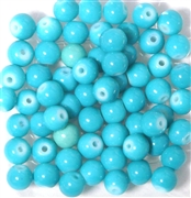 25pc 6mm Glass Rounds Powder Aqua Blue