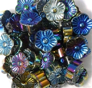 10pc 15mm Glass Flowers Metallic Blue