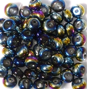 10pc 8mm Glass Rondelle Metallic Blue