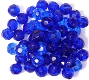 10pc 8mm Firepolish Rounds Sapphire Blue Mix
