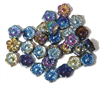 10pc 10mm Metallic Blue Glass Flower Beads