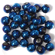 10pc 8mm Glass Rounds Metallic Blue