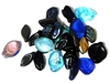 10pc Assorted Glass Leaves Blue