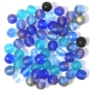 25pc 6mm Glass Rounds Blue Mix