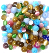 30pc 6-8mm Glass Cats Eye Rounds Assorted