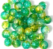 10pc 8mm Glass Crackle Rounds Jonquil Teal