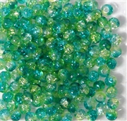 50pc 4mm Glass Crackle Rounds Jonquil Green