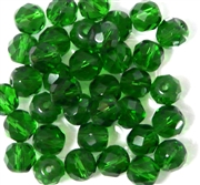 10pc 8mm Glass Firepolish Rounds Green