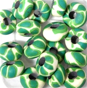 6pc Large Hole Fimo Beads Green white swirl
