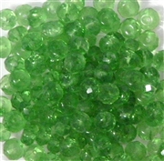 25pc 6mm Glass Firepolish Donut Peridot Green