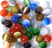 10pc 8mm Glass Cats Eye Rounds Assorted Mix