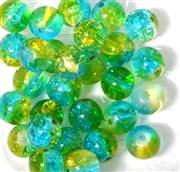 10pc 10mm Glass Crackle Rounds Teal Jonquil