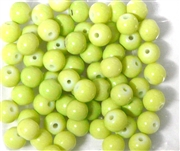 25pc 6mm Glass Rounds Lime Green