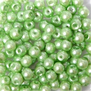 25pc 6mm Glass Pearls Peridot Green