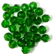 10pc 8mm Firepolish round green
