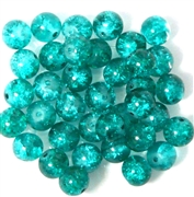 10pc 8mm Glass Crackle Round Teal Green