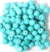 25pc 6mm Glass Rounds Teal Green Opaque