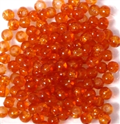 50pc 4mm Glass Crackle Rounds orange