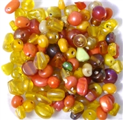 50pc 4mm Glass Lustre Beads Assorted Orange Yellow Mix