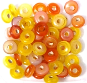 10pc 8mm Glass Swirl Rondelle Yellow Orange Mix
