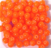 25pc 6mm Glass Rounds bright Orange