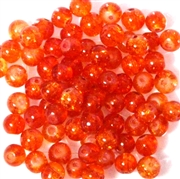 25pc 6mm Crackle Glass Rounds Orange