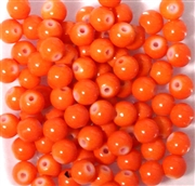 25pc 6mm Glass Rounds Bright Orange Opaque