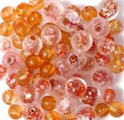 25pc 6mm Glass Rounds Assorted Orange Mix