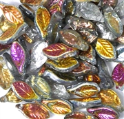10pc Czech Glass Mini Leaves Metallic Pink