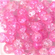 10pc 8mm Crackle Glass Rounds Pink