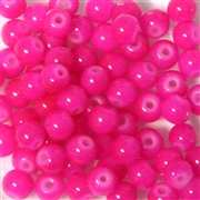 25pc 6mm Glass Rounds Hot Pink