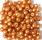 25pc 6mm Glass Pearls Peach Pink