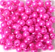 25pc 6mm Glass Round Pearls Hot Pink