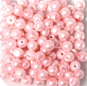 25pc 6mm Glass Round Pearls Pink