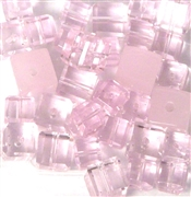10pc 6-8mm Glass Cube Mix Rosaline Pink