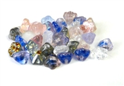 10pc czech glass button flowers 6mm amethyst blue mix