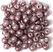 25pc 6mm Glass Sugar pearls Purple