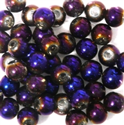 10pc 8mm Glass Rounds Metallic Purple