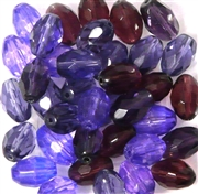 10pc 12mm Firepolish Ovals Purple Mix