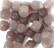 10pc 8mm Glass Cubes Milky Purple