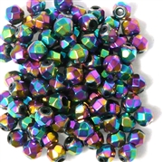 25pc 6mm Firepolish Crystals Metallic Purple
