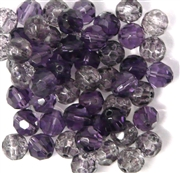 15pc 8mm Firepolish Rounds Purple Mix