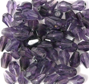 25pc 6x3mm Glass Firepolish Teardrops Purple