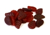 10pc czech glass leaf mix assorted red