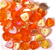 10pc czech glass leaves heart orange ab 6mm
