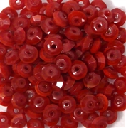 50pc 4mm Faceted Rondelle Opaque Red