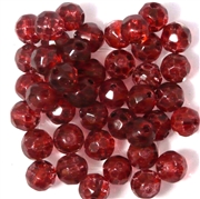 10pc 8mm Faceted Firepolish Round Red Mottle