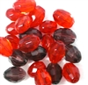5pc 15x10mm Firepolish Ovals Red Mix