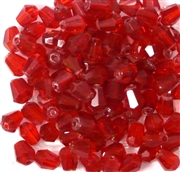 30pc 6x4mm firepolish vertical hole teardrop siam red