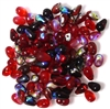 30pc 6x4mm Assorted Glass Teardrops Red